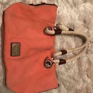 Coral Michael Kors fabric purse w leather trim